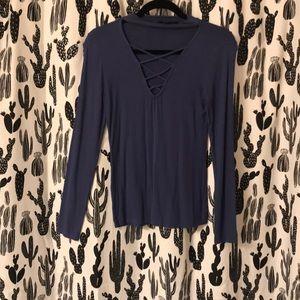 Dark periwinkle cross chest shirt